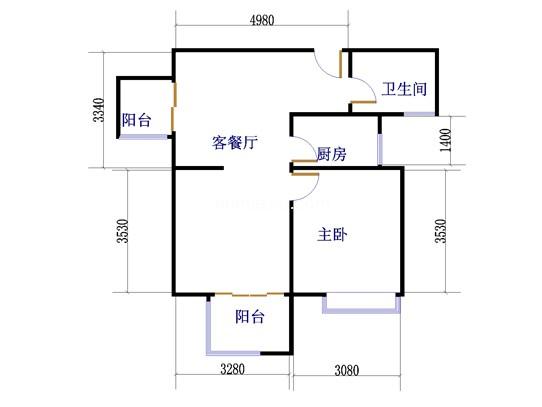 D2户型1室2厅1卫1厨 77.41�O