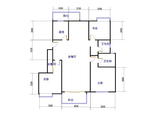 3室2厅2卫 132�O