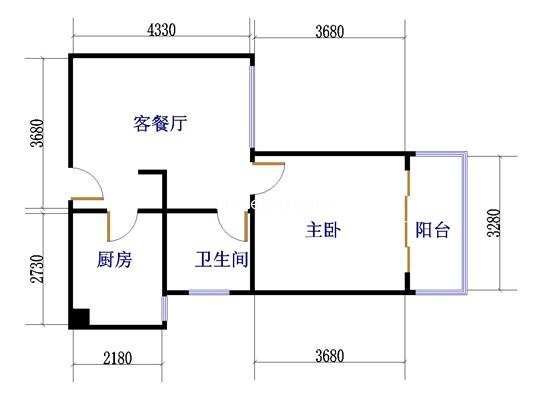 1室1厅1卫 61�O