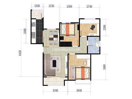 C1户型3室2厅1卫1厨 88.25�O
