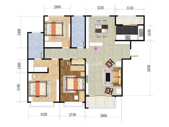 D2户型3室2厅2卫1厨 122�O