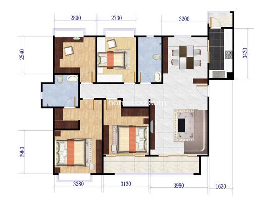 E户型4室2厅2卫1厨 141.73�O