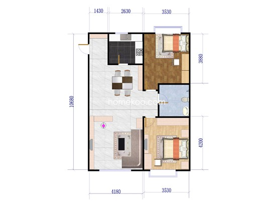 A4丹霞户型2室2厅1卫1厨 108�O