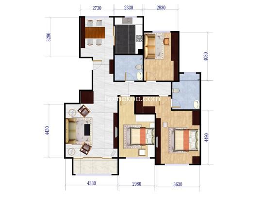 J户型3室2厅2卫1厨 145.84�O