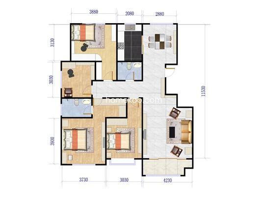 I户型4室2厅2卫1厨 157.93�O