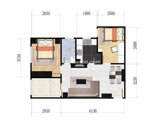 3号楼户型图2室2厅1卫1厨 86.92�O