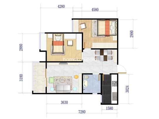 E户型2室2厅1卫1厨 93.49�O