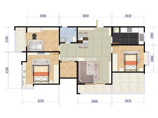 F户型3室2厅1卫1厨 133.31�O