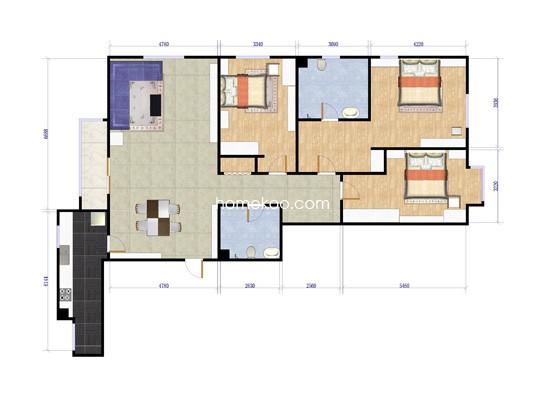 悠唐麒麟公馆ELITE公寓9号楼3座03户型