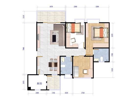 人盛巴厘天地1号楼2梯01单位户型图