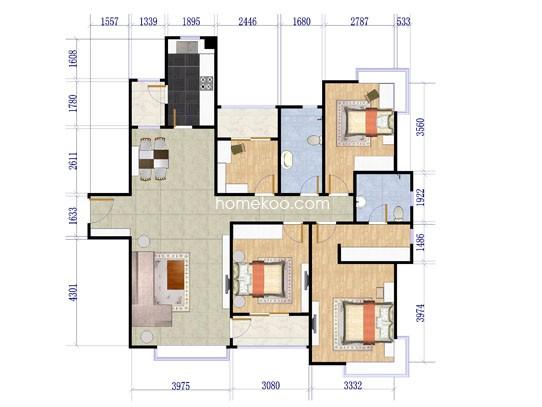 4室2厅2卫房型图4室2厅2卫1厨148.56�O