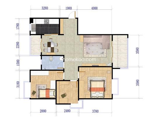 7号楼标准层A3户型3室2厅1卫1厨111.00�O