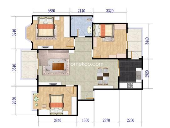 室2厅1卫1厨112.07�O