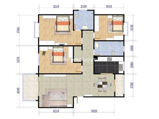 C型 3室2厅2卫122�O