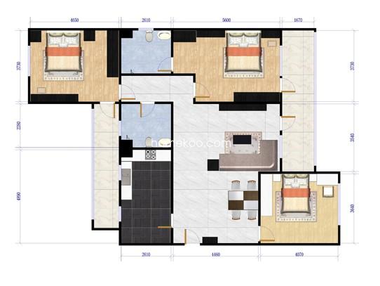 XB2三室两厅两卫户型