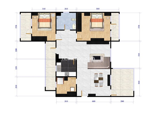 XD2三室两厅两卫户型