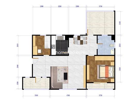 XE2三室两厅两卫户型