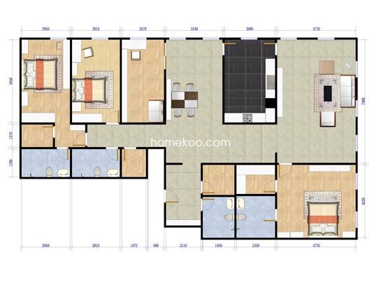 上第MOMA四期11号楼AD三室三厅四卫248.77平方米户型