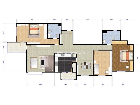 国际三期A三室两厅两卫约172平方米户型
