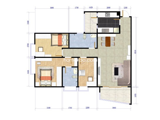 A7栋十六层02单元户型图