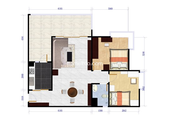 B栋4-21层B7户型2室2厅1卫1厨98.86�O