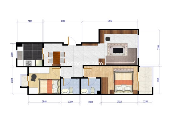 8-B1户型图2室2厅2卫1厨103.68�O