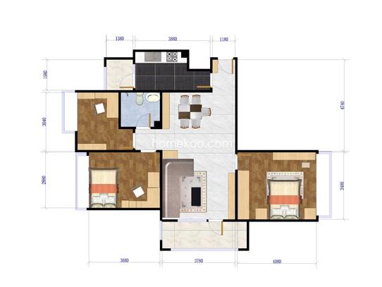 A3户型3室2厅1卫103.04�O
