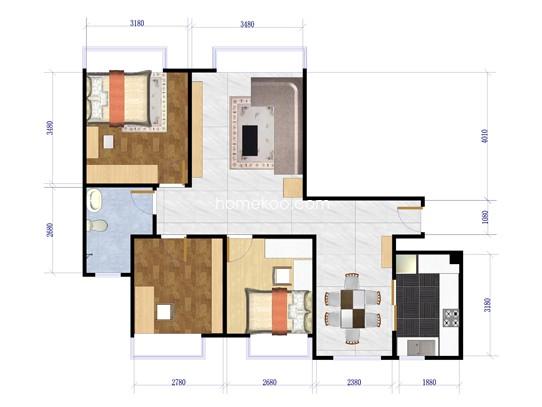 A4户型3室2厅1卫112.84�O