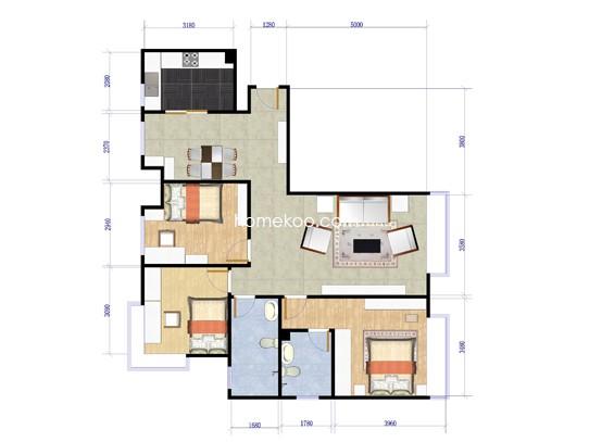 A5户型3室2厅2卫123.59�O