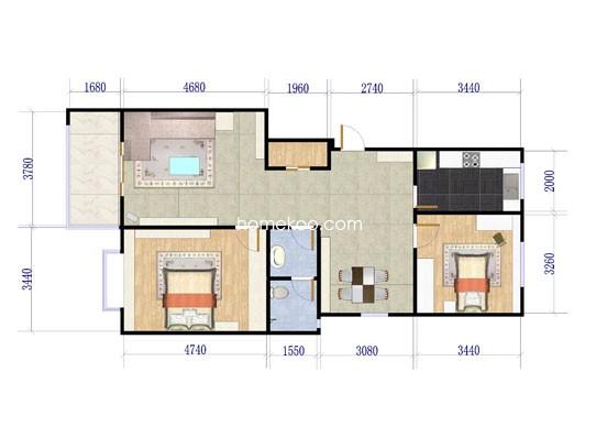 d-b户型2室2厅1卫1厨100.80�O