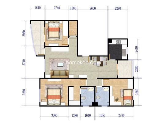 户型图3室2厅2卫1厨139.55�O