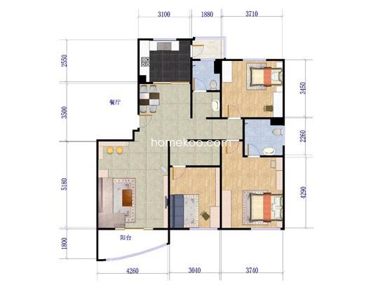 户型图3室2厅2卫1厨139.86�O
