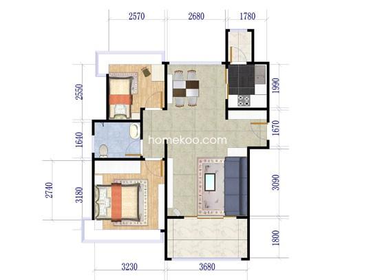 高层A户型2室2厅1卫1厨90.00�O