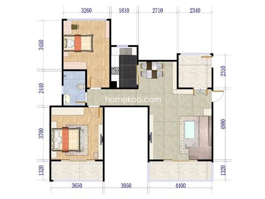 洋房B1户型六层2室2厅1卫1厨99.00�O