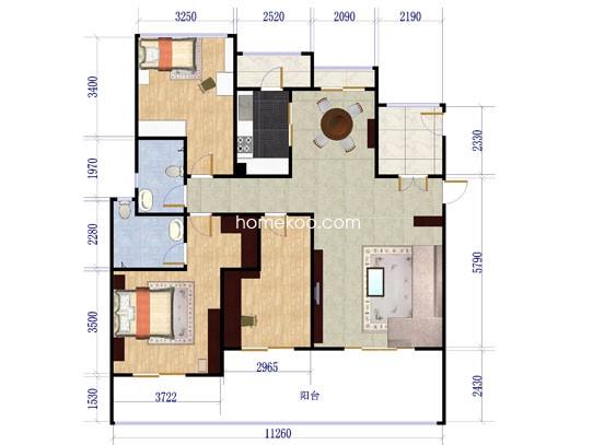 洋房B1户型三层3室2厅2卫1厨128.00�O