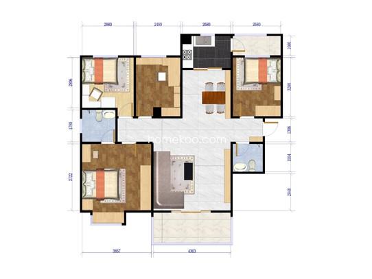 2号楼B2a户型4室2厅2卫1厨118.72�O