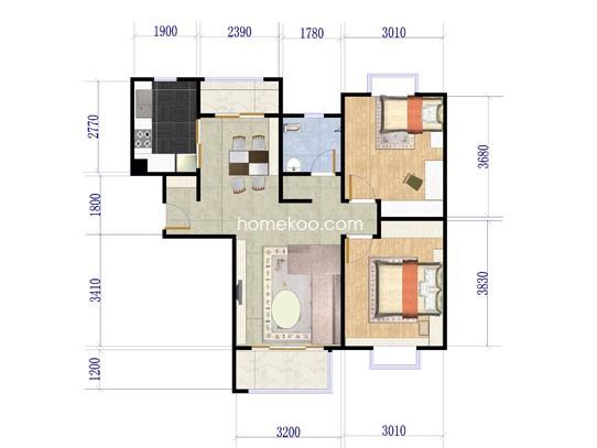 C-户型2室2厅1卫88.00�O