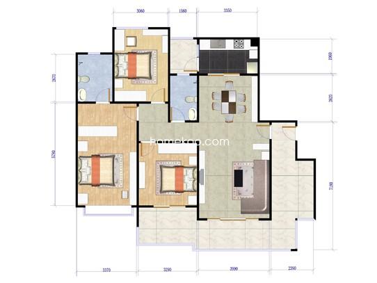 F栋02单元户型图3室2厅2卫1厨147.00�O