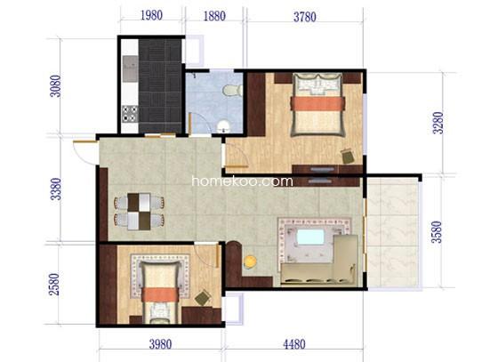 E户型2室2厅1卫99.00�O