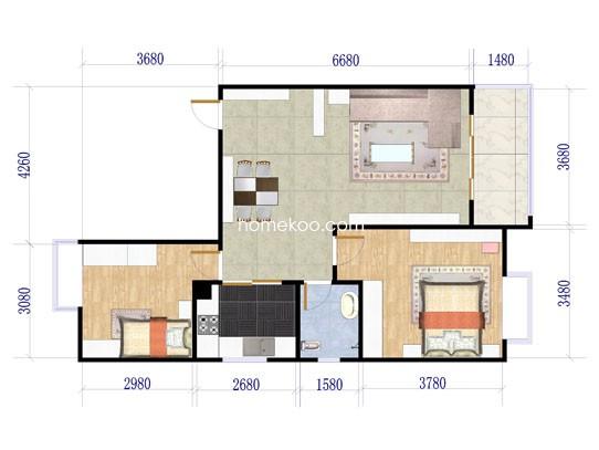29号楼标准层A1户型2室2厅1卫1厨95.00�O