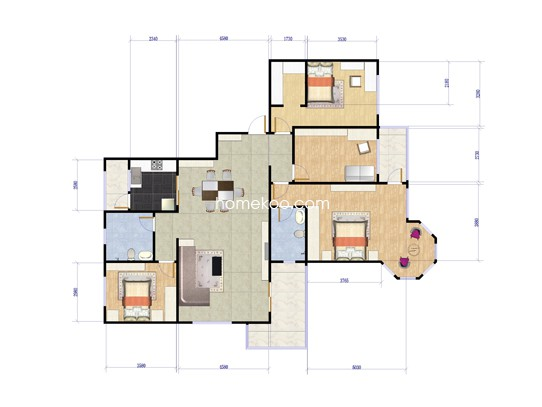 11#H1户型4室2厅2卫1厨167.18�O