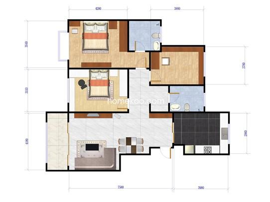 迦南美地H户型3室2厅2卫132.00�O