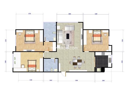 A户型3室2厅2卫174.67�O