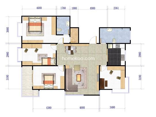 一期高层户型图4室2厅2卫1厨178.00�O