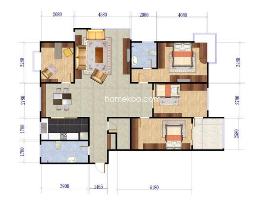 一期高层户型图4室2厅2卫1厨185.00�O