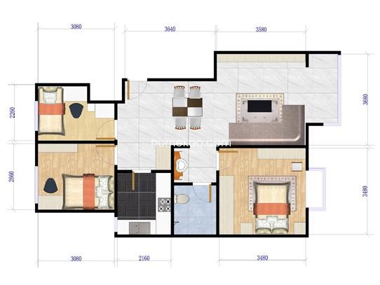 F户型图3室2厅1卫1厨 90.00�O