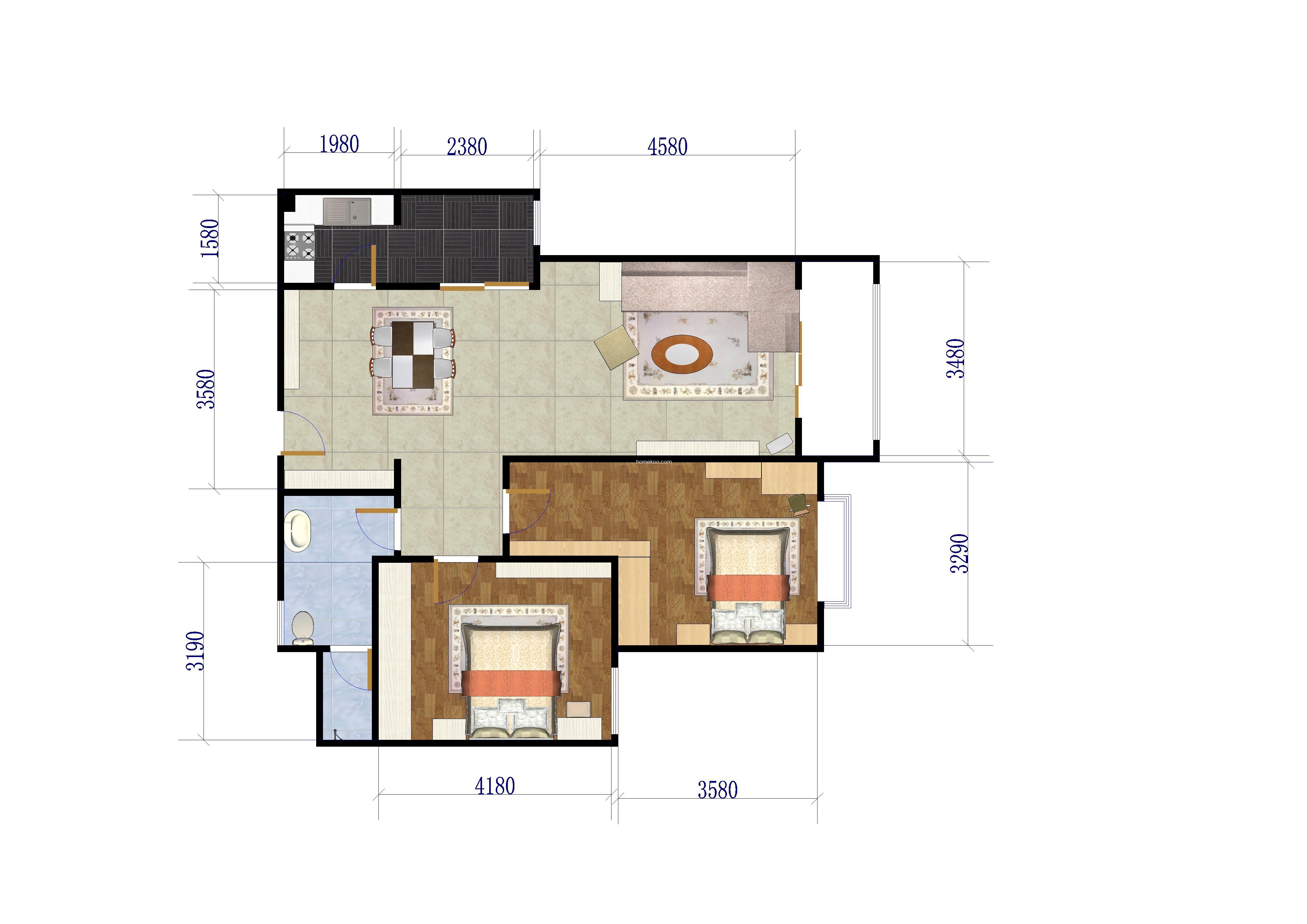 D户型2室 98.61�O
