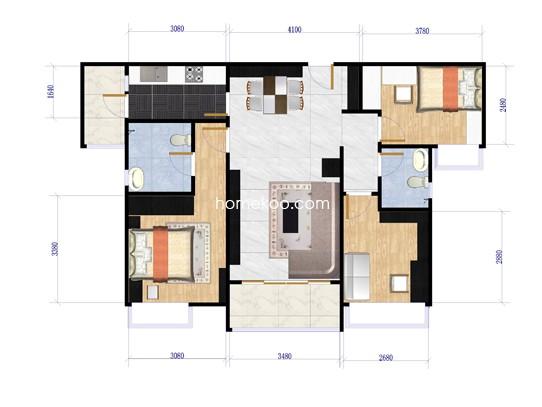 1-2座3室2厅2卫1厨 107.00�O