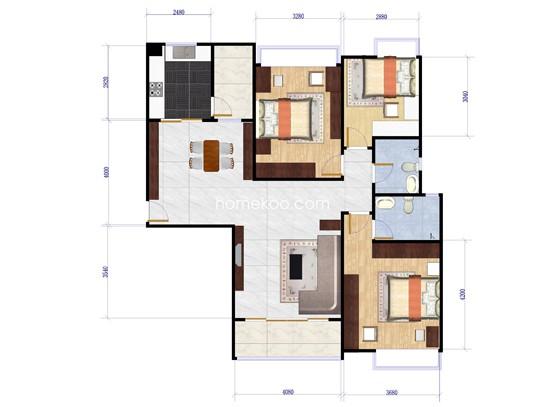 5座3室2厅2卫1厨 133.00�O
