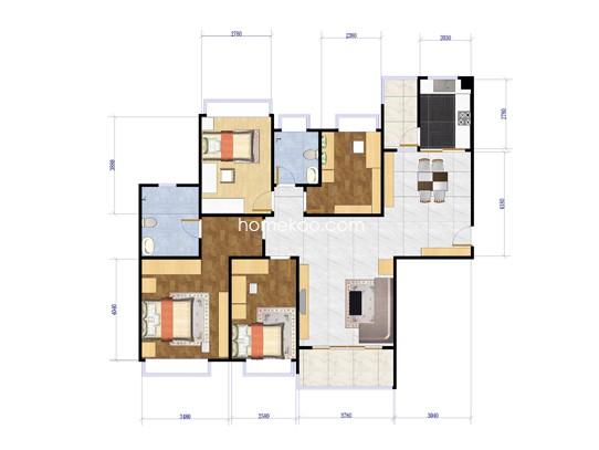 6座4室2厅2卫1厨 151.00�O